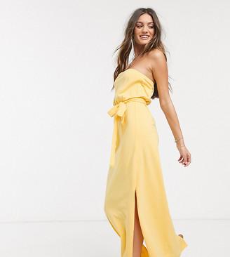 ASOS DESIGN Petite Exclusive bandeau maxi dress with belt in buttermilk