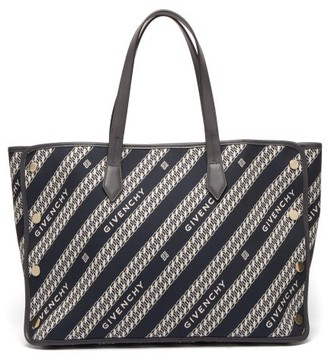 Givenchy Bond Medium Logo-jacquard Canvas And Leather Bag - Womens - Blue