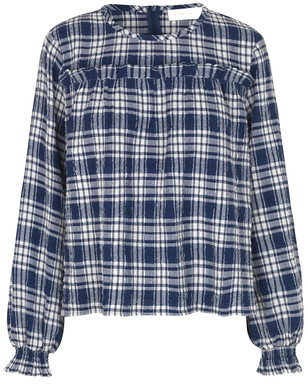 Storm & Marie - Zula Navy Checked Blouse - 34 | cotton | navy | checked - Navy