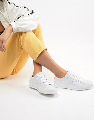 Converse One Star white monochrome leather sneakers
