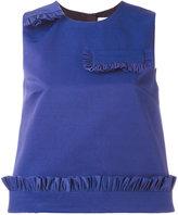 MSGM ruffle detail sleeveless blouse - women - Cotton/Polyamide/Polyester - 40