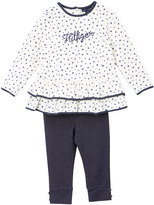 Tommy Hilfiger White & Dark Gray Dot Tunic & Leggings - Infant