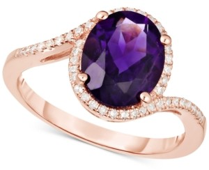 Macy's London Blue Topaz (3 ct. t.w.) & Diamond (1/6 ct. t.w.) Ring in 14k Rose Gold(Also Available in Amethyst)