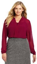 Kenneth Cole Women's Plus-Size Solid Tuxedo Top