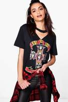 boohoo Rosie Guns N Roses Cut Out Neck Licence Band Tee black