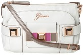 GUESS Isia Crossbody Top Zip (White Multi) - Bags and Luggage