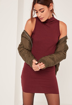 Missguided Burgundy Petite High Neck Ribbed Mini Dress