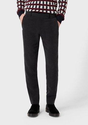 Giorgio Armani Regular-Fit, Cupro Trousers With Marbled Design