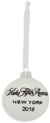 Saks Fifth Avenue 2019 Logo Ball Glass Ornament