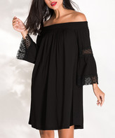Milan Kiss Women's Casual Dresses BLACK - Black Lace-Accent Bell-Sleeve Off-Shoulder Dress - Women
