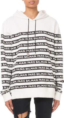 Balmain Oversized Logo-Striped Hooded Sweatshirt