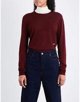 Calvin Klein Logo-embroidered turtleneck wool-blend jumper