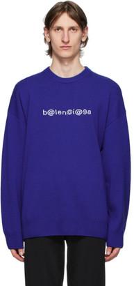 Balenciaga Blue Logo Crewneck Sweater