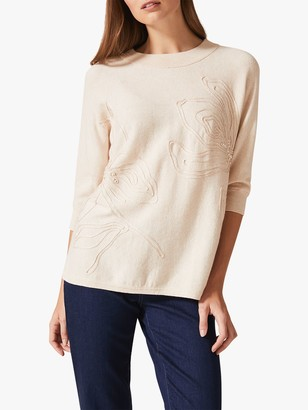 Phase Eight Tammy Tapework Floral Jumper, Natural