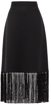 Burberry Fringed Mohair-blend A-line Skirt - Black