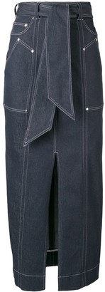 Talbot Runhof belted long pencil skirt
