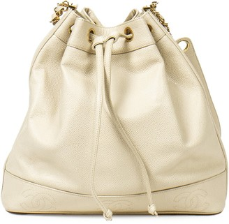 Chanel Beige Caviar Leather Bucket Bag