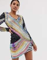 A Star Is Born sequin mini dress in multicoloured pattern