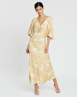 Shona Joy Edgar Flutter Sleeve Ruched Midi Dress