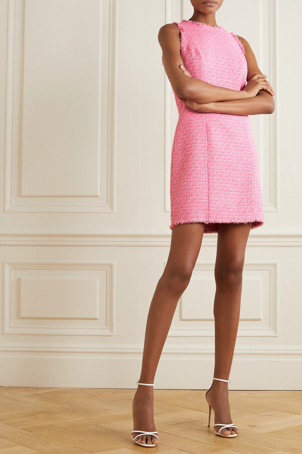 Thumbnail for your product : Balmain Frayed Cotton-blend Tweed Mini Dress - Pink