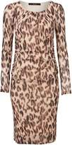Oui Leopard print mesh long sleeve dress