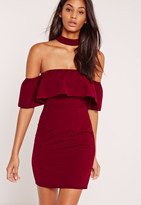 Missguided Choker Neck Bardot Frill Shift Dress Burgundy