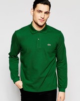 Lacoste Polo Shirt with Croc Logo Regular Fit Long Sleeves in Green