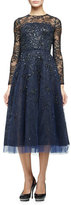 Oscar de la Renta Long-Sleeve Degrade Embellished Midi Dress, Navy/Black