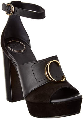 Chloé C Leather And Suede Platform Sandal