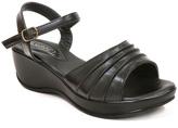 Black Ankle Buckle Wedge Sandal