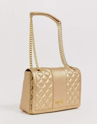Love Moschino metallic quilted faux leather chain strap shoulder bag-Gold
