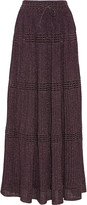 M Missoni Pleated metallic crochet-knit maxi skirt