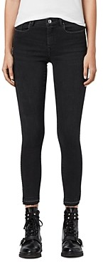 AllSaints Grace Studded Ankle Skinny Jeans in Washed Black