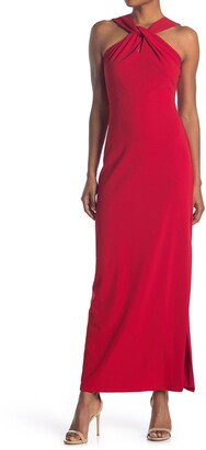 Bebe Sleeveless Twisted Neck Gown