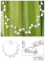 Bridal Pearl Strand Necklace, 'Spiral'