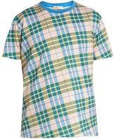 ORLEY Check-print cotton-jersey T-shirt