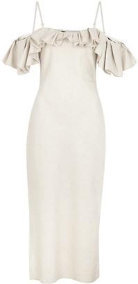 Jacquemus La Robe Pampelonne stone cotton-blend midi dress