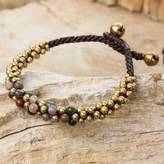 Multicolor Jasper and Brass Beaded Bracelet, 'Rainbow Helix'