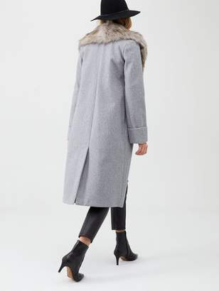 River Island Faux Fur Collar Longline Coat - Light Grey