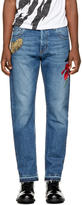 Alexander McQueen Blue Embroidered Selvedge Jeans