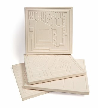 "CoasterStone Etched Frank Lloyd Wright Absorbent Coasters 4.25"" Square"