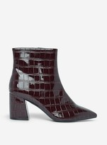 Dorothy Perkins Womens Burgundy 'Anica' Crocodile Design Boots