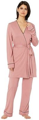 Cosabella Bella Curvy Racerback Camisole Pants Rib Set (Pink Terracotta/Navy Blue) Women's Pajama Sets