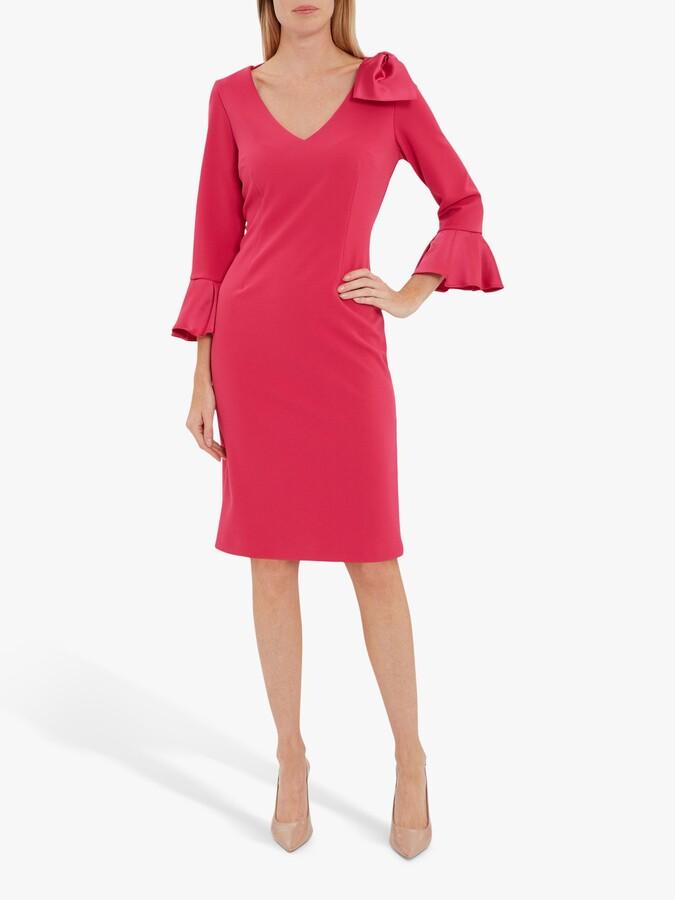 Thumbnail for your product : Gina Bacconi Caliana Bow Knee Length Dress, Fuchsia