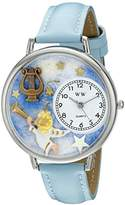 Whimsical Watches Angel with Harp Baby Blue Leather and Silvertone Unisex Quartz Watch with White Dial Analogue Display and Multicolour Leather Strap U-0710004