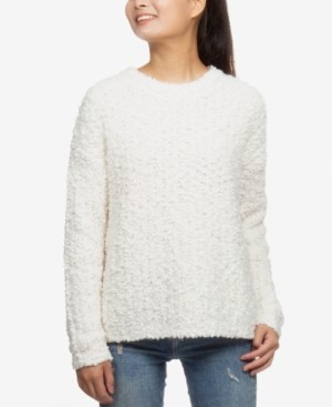Hippie Rose Juniors' Plush Crewneck Pullover Sweater
