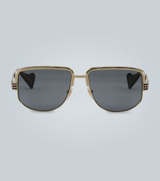 Gucci Web detail sunglasses gold