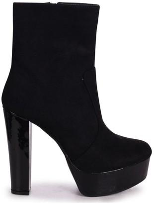 Linzi LEONIE - Black Patent & Suede Round Toe Platform Ankle Boots