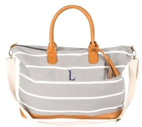 Cathy's Concepts Personalized Grey Striped Oversized Weekender Tote