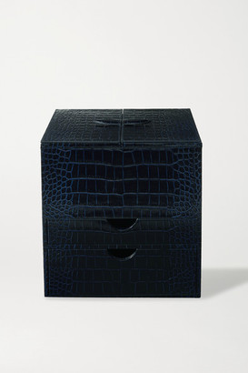 Smythson Mara Croc-effect Leather Cosmetics Case - Navy